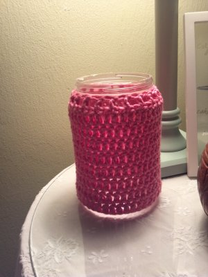 Homemade crochet covered jar