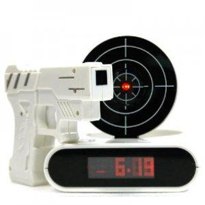 Laser Target Gun Alarm Clock with LCD Screen Novelty Gadget
