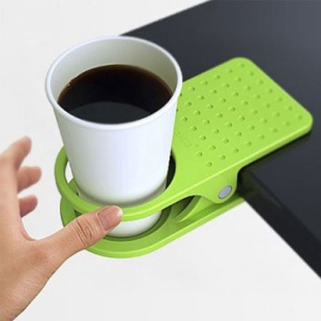 3x Office Table Desk Drink Coffee Cup Holder Clip Drinklip Random Color