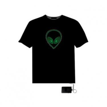 EL LED T-Shirt Light Glowing Dynamic Graph - ET Face (Size XXL)