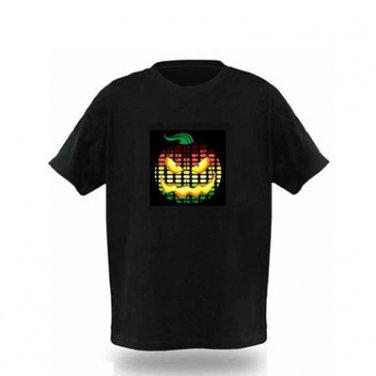EL LED T-Shirt Light-up Sound Activated- Pumpkin Head Graph (Size XL)