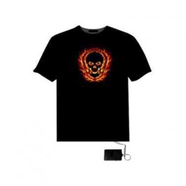 EL LED T-Shirt Light-up Dynamic Sound Activated- Afire Fire Skull Figure (Size XXL)