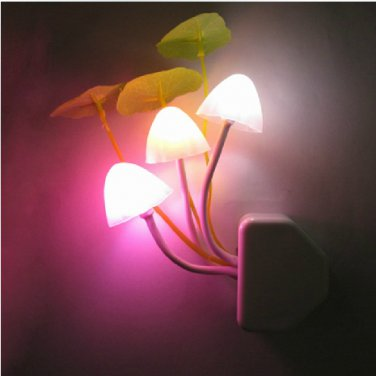 Three Mushroom Lamp LED Night Light Color Changeable Light Actived 220V