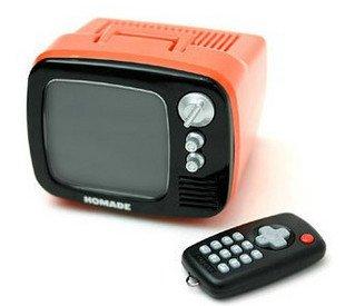 Retro TV Shaped Digital Alarm Clock w/ Remote Control Funny Toy Gadget Gift - HOMADE