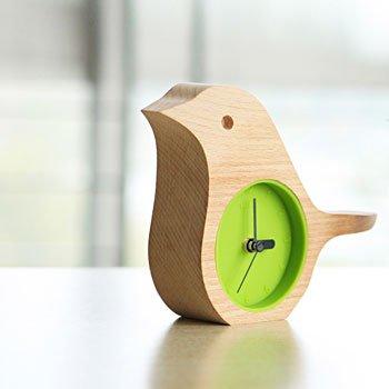 Early Bird Beech Mini Clock Wooden Shell Green Life Time Gadget