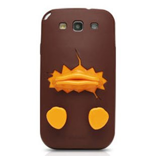Cute Yellow Duck Beak Stereo Case for Samsung S4 I9500 IV Protective Shell Chocolate Color