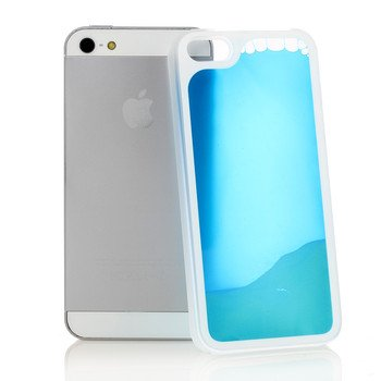 Liquid Filled Slim Case for iPhone 5 5G Luminous Quicksand Soft Cover Blue Color