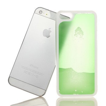 Liquid Filled Slim Case for iPhone 5 5G Luminous Quicksand Soft Cover Green Color