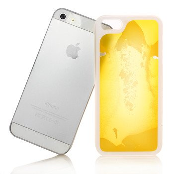 Liquid Filled Slim Case for iPhone 5 5G Luminous Quicksand Soft Cover Yellow Color