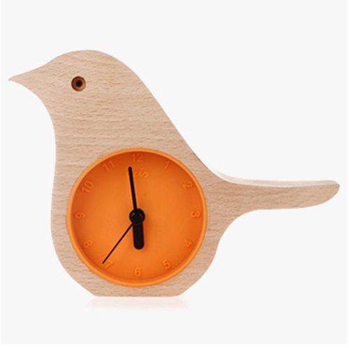 Orange - Early Bird Beech Mini Clock Wooden Shell Green Life Time Gadget