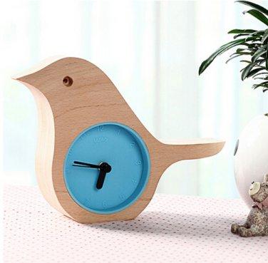 Blue - Early Bird Beech Mini Clock Wooden Shell Green Life Time Gadget
