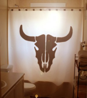 Unique Shower Curtain Cow Skull Head Horns Bull Skeleton Face