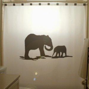 Unique Shower Curtain Elephants Herd Family Elephant 03