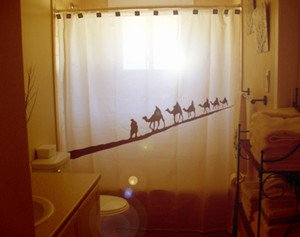 Unique Shower Curtain animal Camel Caravan train Bactrian herd