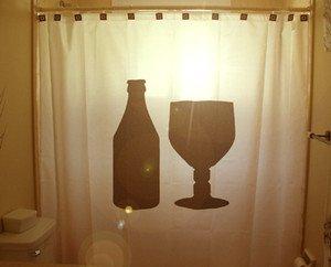 Unique Shower Curtain Bottle Glass beer goblet wine drink pint