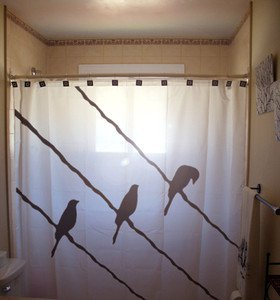Unique Shower Curtain animal bird on a wire birds raven crow