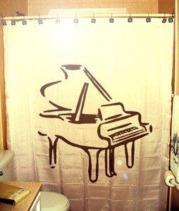 Unique Shower Curtain music instrument Piano organ baby grand