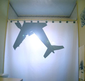 Unique Shower Curtain Airplane passenger 747 jumbo jet airline
