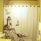Unique Shower Curtain scene Lighthouse and The Sea gulls bluff