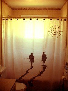 Unique Shower Curtain Surfing Day Ends Into the Sunset surfers