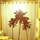 Unique Shower Curtain palm tree trees beach scene ocean sand