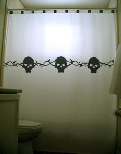 Unique Shower Curtain Skull Thorn Rose Vine crossbone tattoo