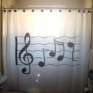 Unique Shower Curtain music Sheet Treble Clef notes staff line