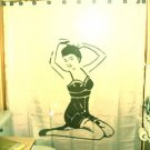 Unique Shower Curtain Sexy Nude Naked Female Pin up kneeling