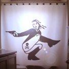 Unique Shower Curtain Sexy Nude Female Skull & Crossbones Gun