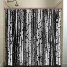 forest wood trunk gray birch tree shower curtain  bathroom