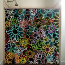 retro chic multi color floral neon flowers shower curtain  bathroom