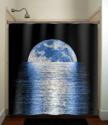 horizon reflection moon shower curtain  bathroom     window cu