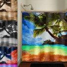 tropical beach paradise palm tree shower curtain  bathroom