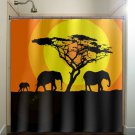 orange sunset acacia tree elephants shower curtain  bathroom   kids ba