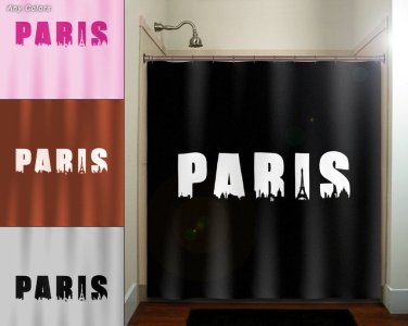 Eiffel Tower CityScape Skyline Word Paris shower curtain  bathroom   k