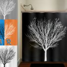white winter tree black shower curtain  bathroom     window cu