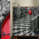 red door old cobblestone street stair gray shower curtain  bathroom