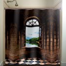 castle window shower curtain  bathroom     window curtains pan
