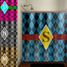 personalized blue diamond argyle shower curtain  bathroom