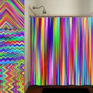 colorful rainbow multicolor chevron stripe shower curtain  bathroom