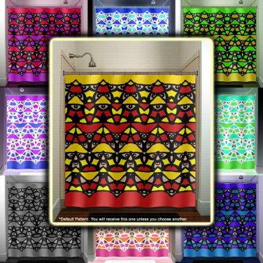 Inca Maya totem pole tiki man native art shower curtain  bathroom   ki