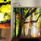 mosaic green forest woodland tree shower curtain  bathroom