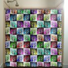 colorful mosaic wall tile trees shower curtain  bathroom     w