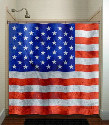 America United States USA flag shower curtain  bathroom     wi