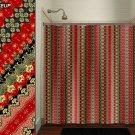 Red Gold Black Golden Asian Batik shower curtain  bathroom