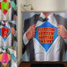 super hero shirt name superhero man boy shower curtain  bathroom   kid