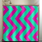 aqua magenta pink vertical chevron shower curtain  bathroom   kids bat