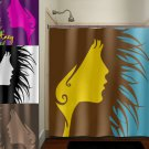 funky chic lady wild hair woman girls shower curtain  bathroom   kids