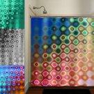 geometric multi color rainbow colorful art shower curtain  bathroom