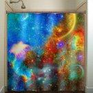 Rainbow Nebula Planet Outer Space Galaxy shower curtain  bathroom   ki